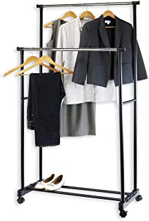double rod portable clothing hanging garment rack
