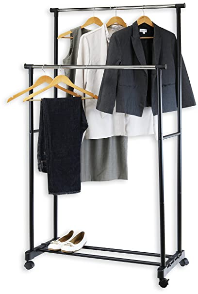 Amazon Com Simple Houseware Double Rod Portable Clothing Hanging Garment Rack Home Kitchen