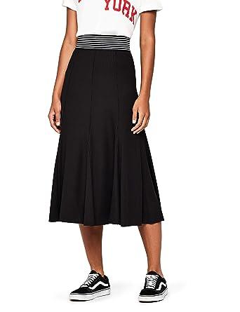 19cf8525ff56 Women's Pleated Jersey Midi Skirt, Black, 8 (Manufacturer Size: X