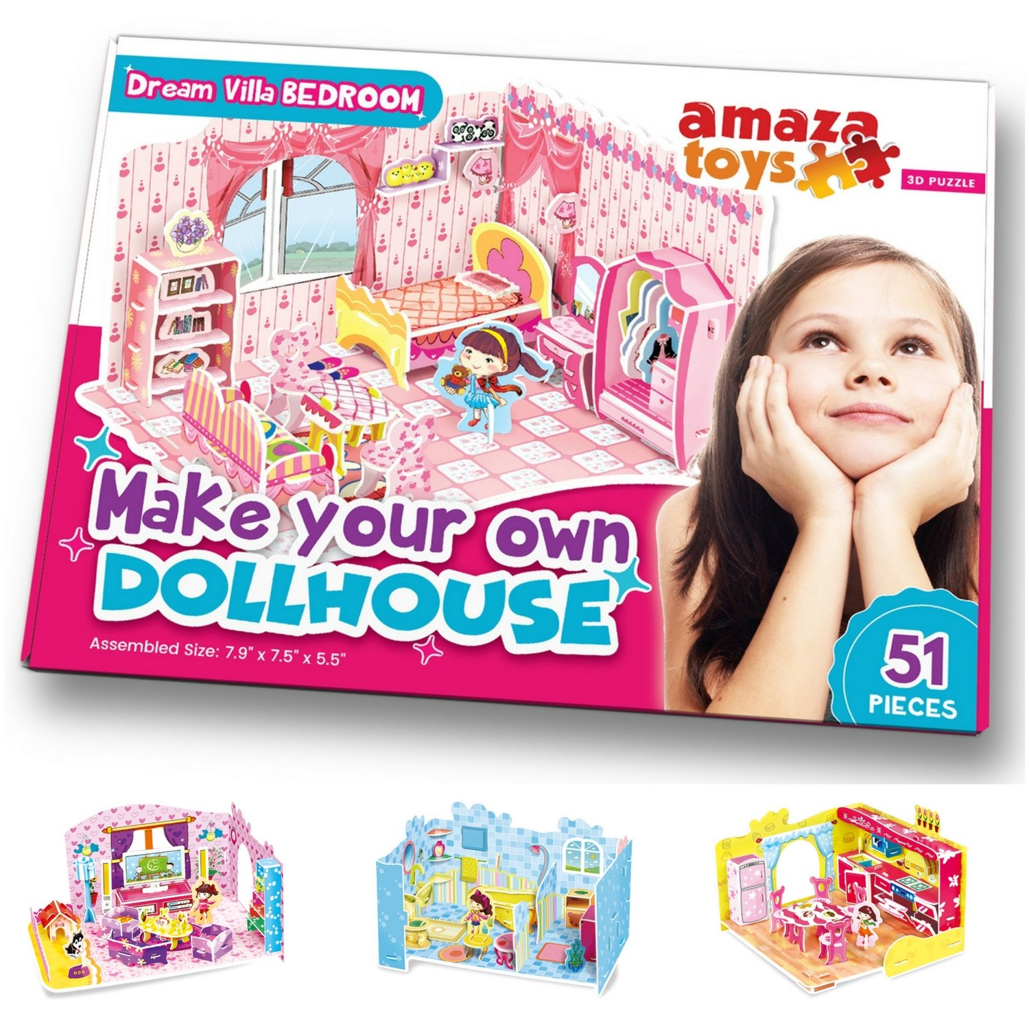 AmazaToys Make Your Own Dollhouse - 3D Puzzle Play Set - Ideal Gift for Girls 5-10 Educational Toys Craft for Kids - Bedroom (51 pieces)