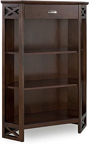 Leick Furniture Mantel Height 3-Shelf Corner Bookcase with Drawer Storage by Leick Home, Chocolate Oak