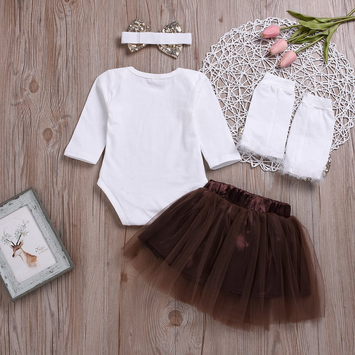 0fdef50eb72b2 Amazon.com  Infant Baby Girls Thanksgiving Outfit Newborn Romper Tops + Tutu  Skirt + Leg Warmers + Headband 4PCS Set (White