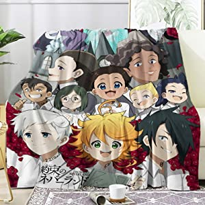 Xvx-Boom Anime The Promised Neverland Flannel Throw Blanket Sherpa Microfiber Lightweight Plush for Couch Bed Sofa Car Kids Adults Pets All Seasons Multi-Size 50X40 Inch for Kids