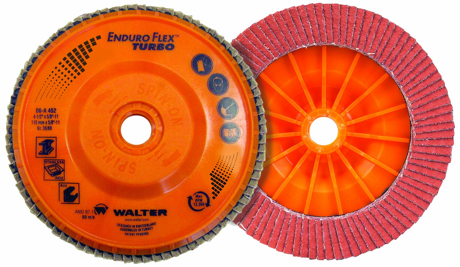 Walter Enduro-Flex Turbo Abrasive Flap Disc, Type 29, 5/8''-11 Thread Size, Plastic Backing, Ceramic, 6'' Diameter, Grit 36/60 (Pack of 10) by Walter Surface Technologies
