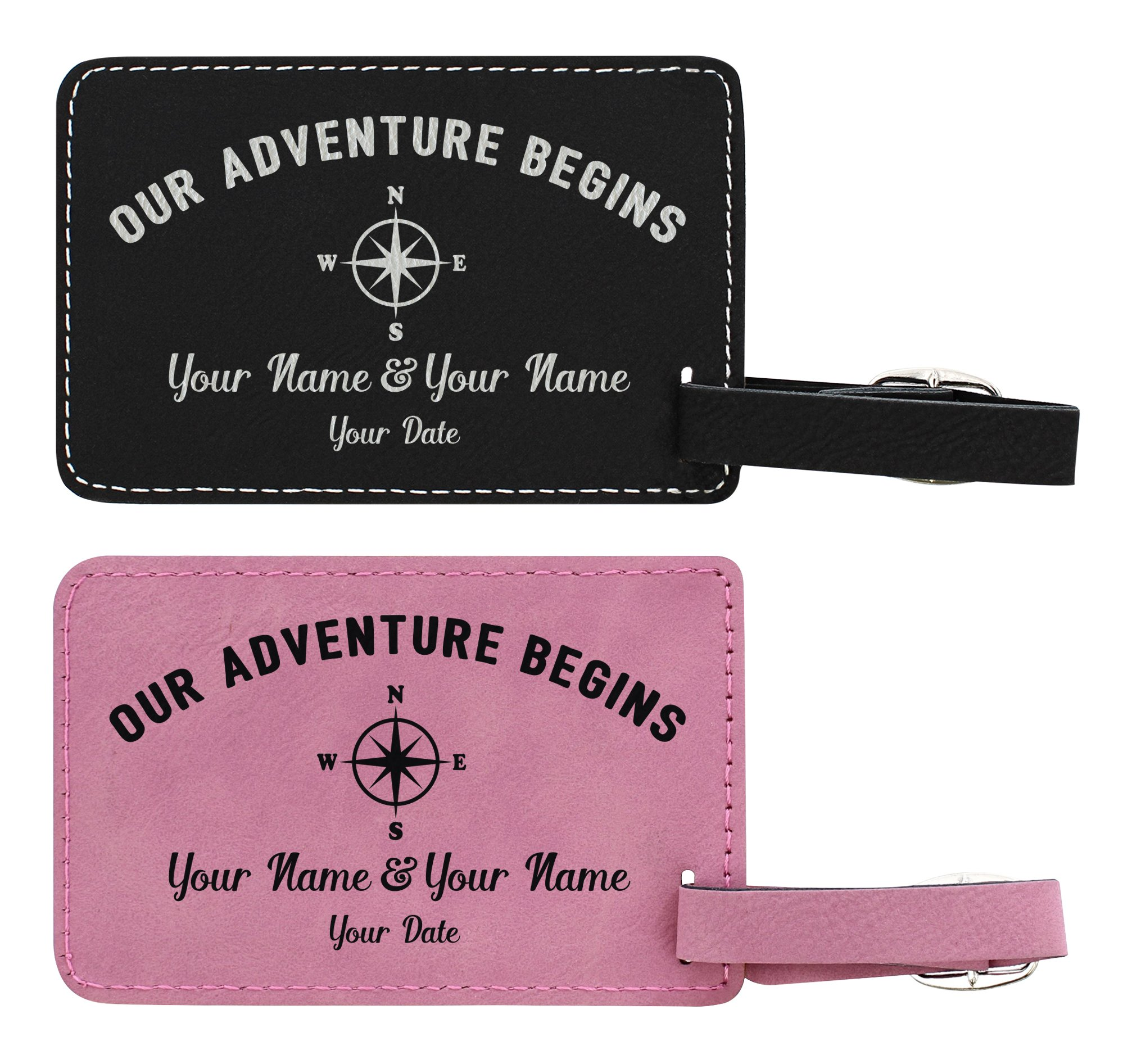 Personalized Names & Date Adventure 2-pack Laser Engraved Leather Customized Luggage Tags Pink & Black by Personalized Gifts