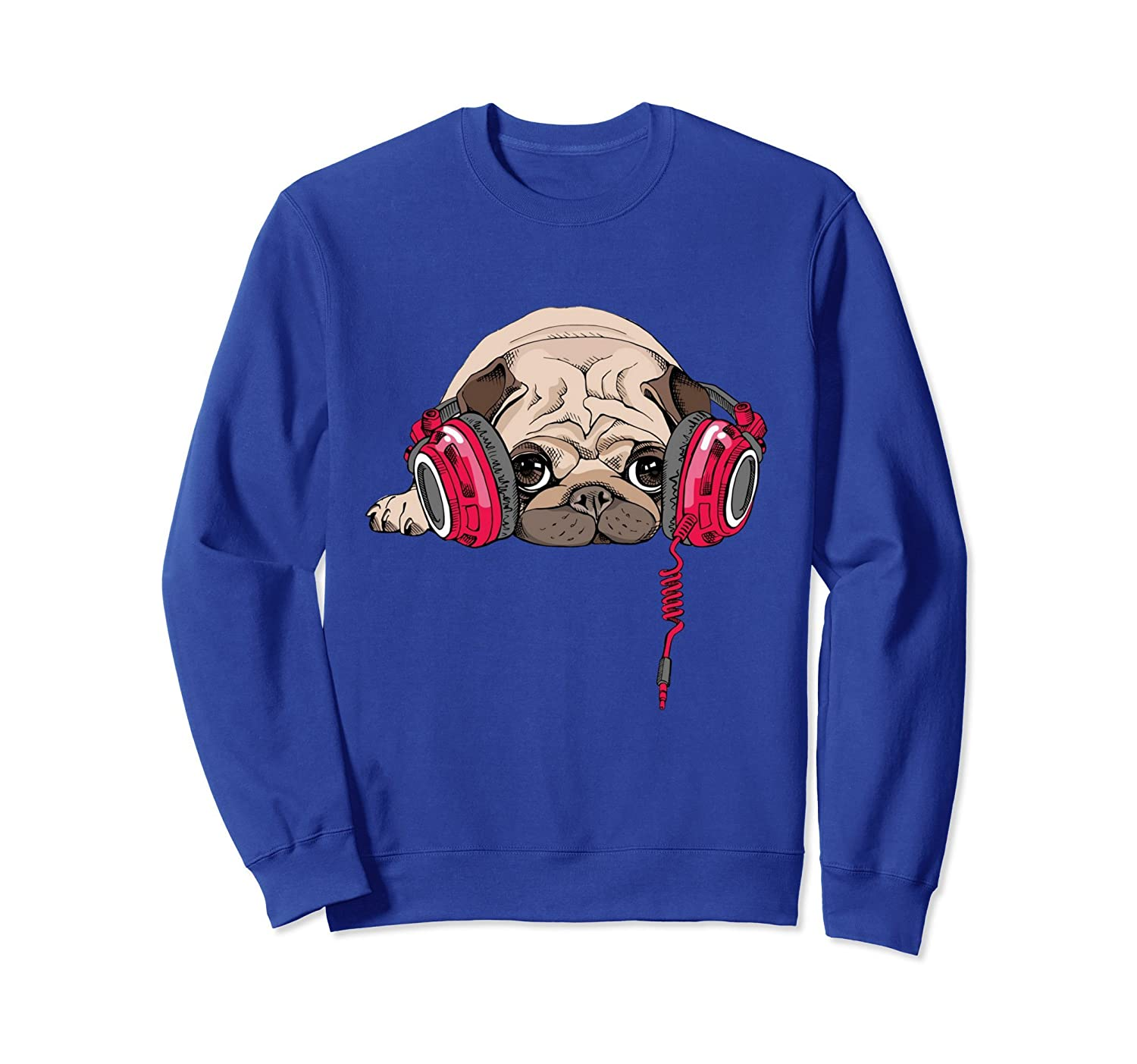 Adorable Pug Wearing Music Headphones Sweatshirt-AZP