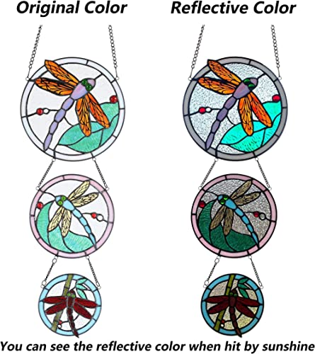 Bieye W10059 Dragonfly Tiffany Style Stained Glass Window Panel with 3 Pieces Hanging Successively Within Chains, 10 W x 39 H