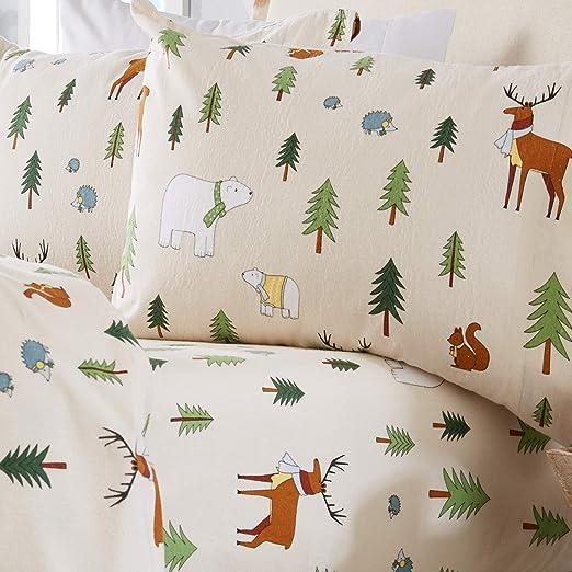 Amazon Com Home Fashion Designs Stratton Collection Extra Soft Printed 100 Turkish Cotton Flannel Sheet Set Warm Cozy Lightweight Luxury Winter Bed Sheets Twin Xl Wildlife Home Kitchen