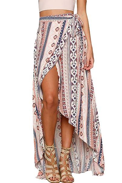 Mujeres Ethnic Print Asimétrico falda maxi vestido envuelto Playa (talla única, As shown)