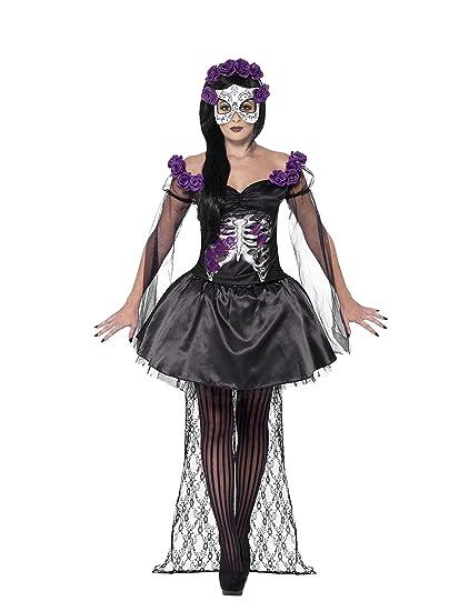 Smiffys Smiffys-43737S Disfraz de señorita del Día de Muertos, con Falda, Parte de Arriba, Diadema con con, Color Negro, S - EU Tamaño 36-38 43737S