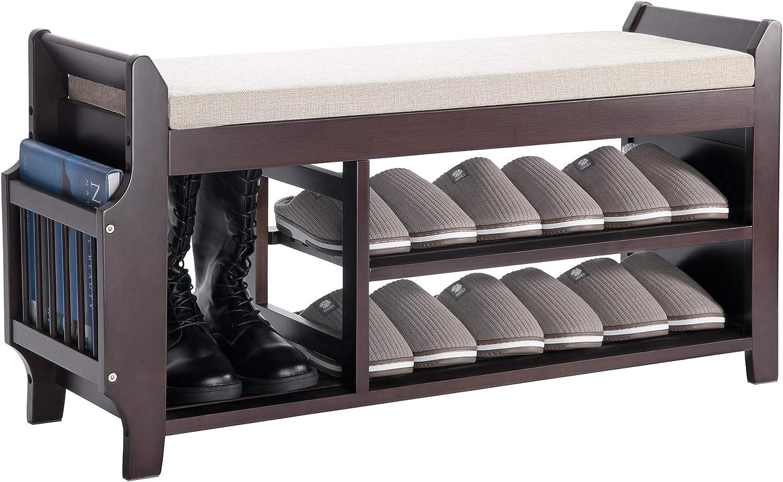 gabinete de Zapatero de Madera con Asiento para Sala de Estar de Pasillo tama/ño: 60 cm XQS Banco de Almacenamiento de Zapatos con caj/ón abatible