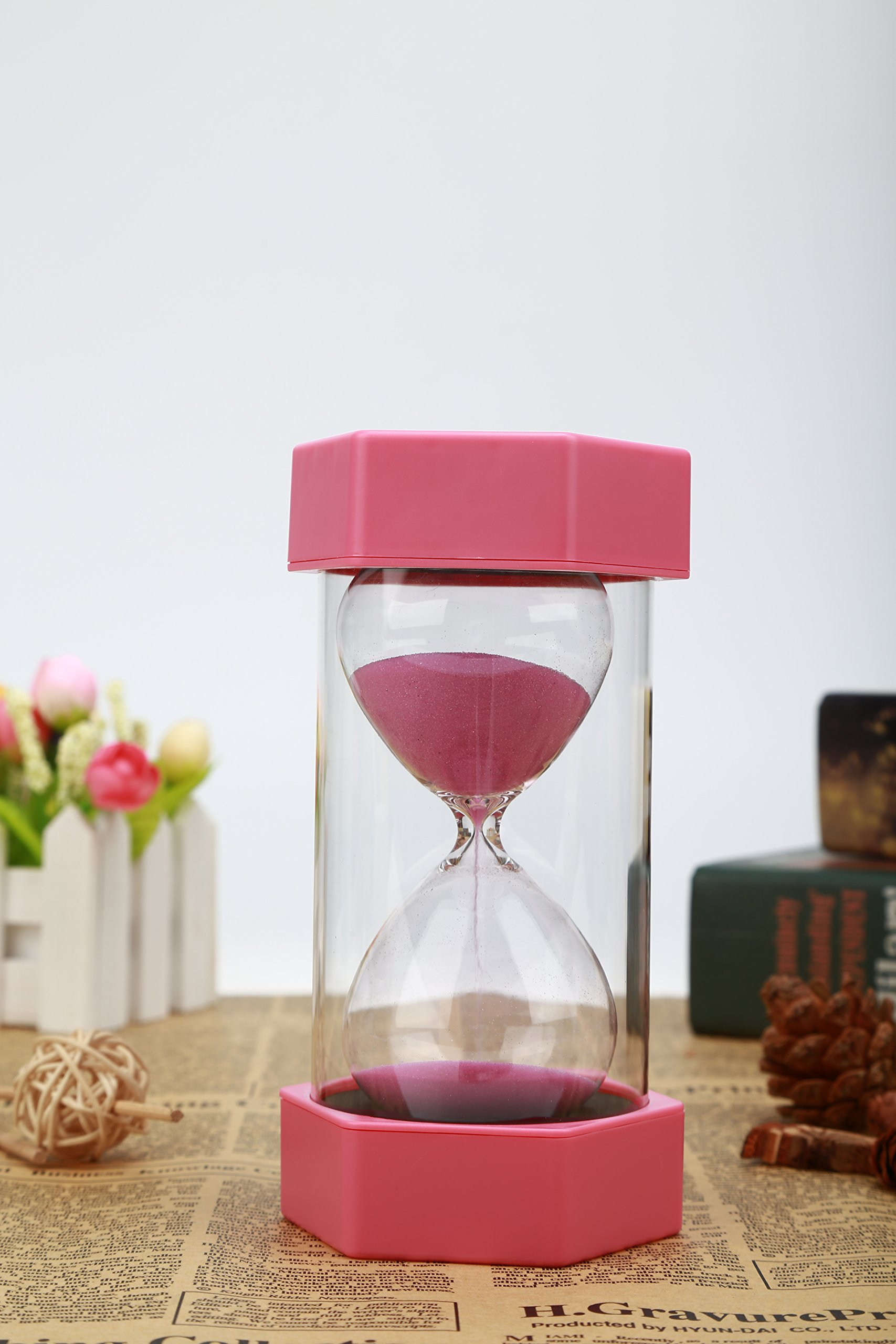 VEOLEY 10 Minute Sand Timer Security Fashion Hourglass for Kids, Classroom, Game,Kitchen,lunch-Pink by VEOLEY (Image #2)