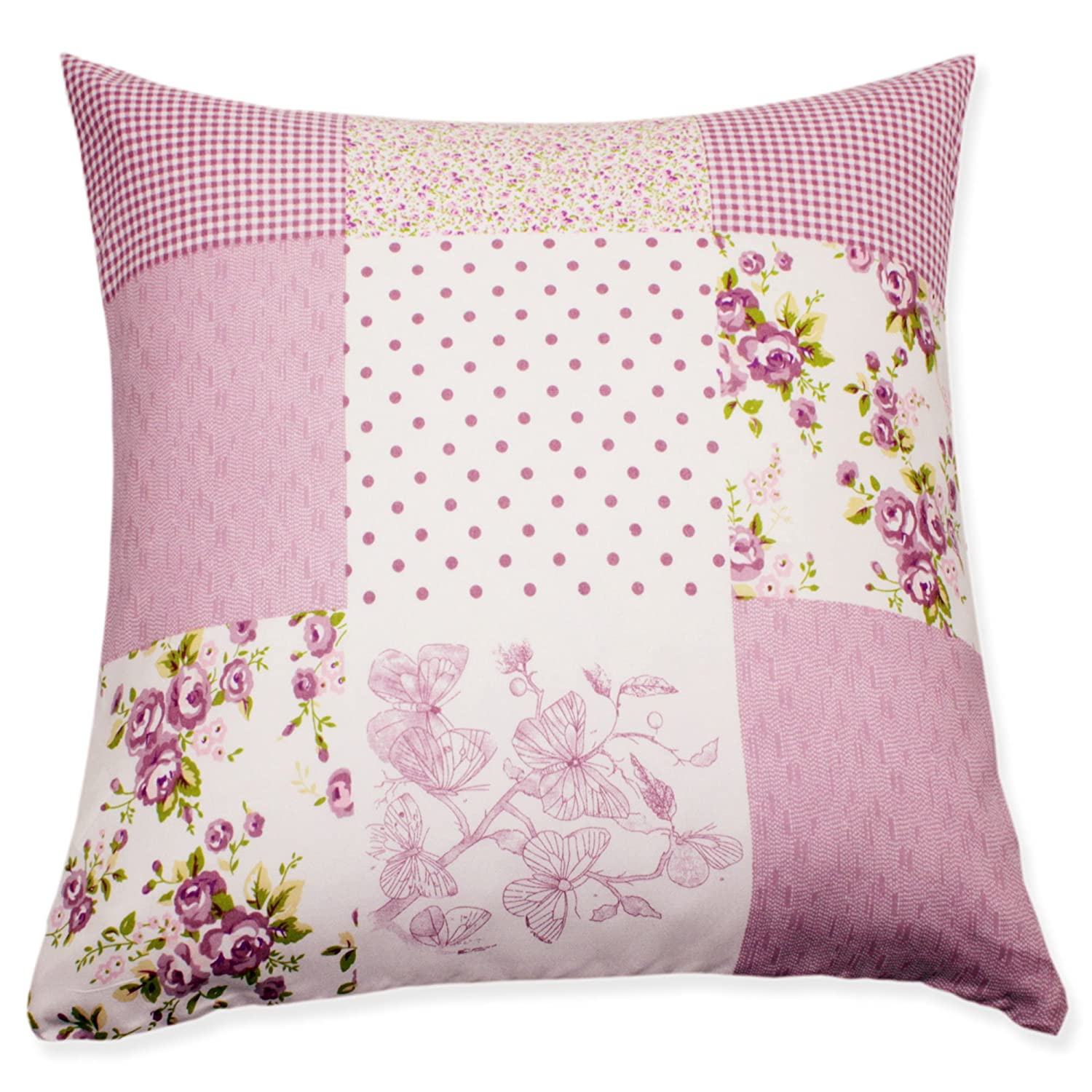 Decorative pillow, throw pillow, cushion cover patchwork floral lilac print reference #1661, Polyester, pink, 60 x 60 Haus und Deko
