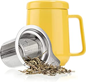 Tealyra - Peak Ceramic Yellow Tea Cup Infuser - 19-ounce - Large Mug with Lid and Stainless Steel Infuser - Tea-For-One Perfect Set for Office and Home Uses - 580 milliliter