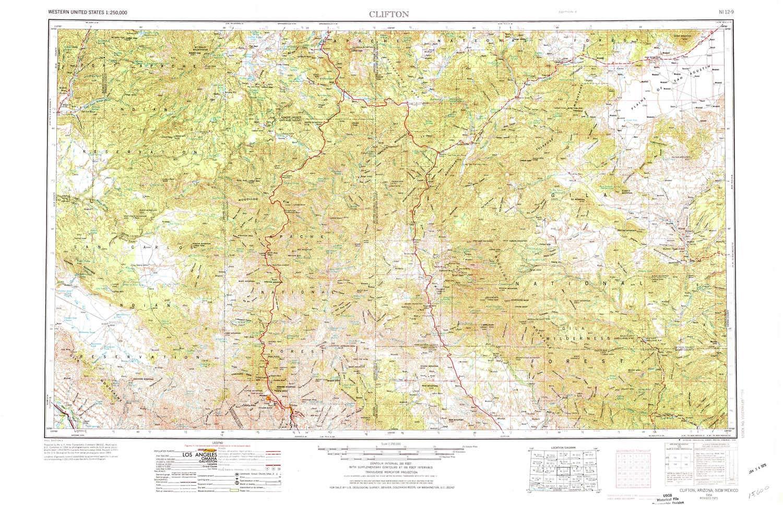 Az Topographic Map.Amazon Com Yellowmaps Clifton Az Topo Map 1 250000 Scale 1 X 2