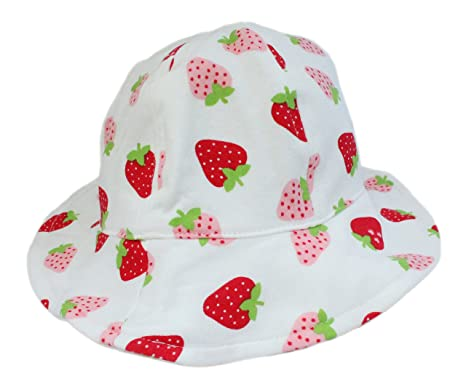 37c10d9e7 Baby Girl Soft Cotton White with Strawberry Summer Sun Hat with Chin Strap