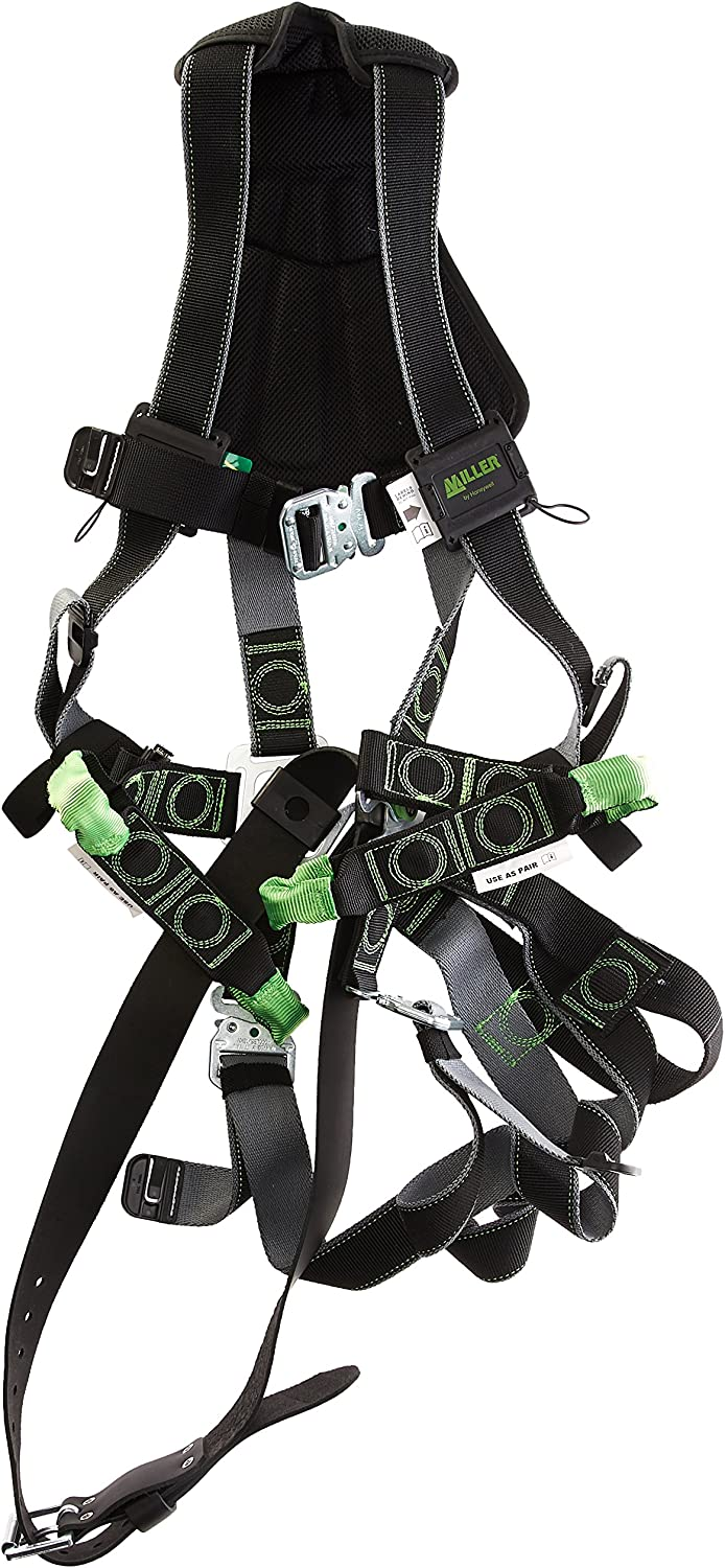 Universal Size-Large//XL Miller Revolution Full Body Safety Harness with Suspension Loop Capacity RDTSL-QC-B//UBK Quick-Connectors /& Removable Belt 400 lb