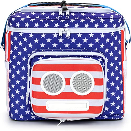 The 1 American Flag Cooler with Speakers Subwoofer Bluetooth, 20-Watt for Parties Festivals Boat Beach. Rechargeable Speaker Cooler, Works with iPhone Android 2020 Edition