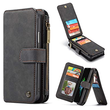 ee7c2d302 CaseMe for iPhone Xr Leather Case,Multi-functional Zipper Flip Wallet  Leather Case with