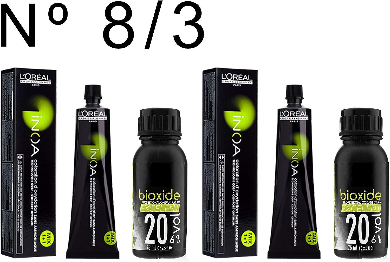 L Oréal Professionnel Inoa nº 8,3 colorante 2 unidades + ...
