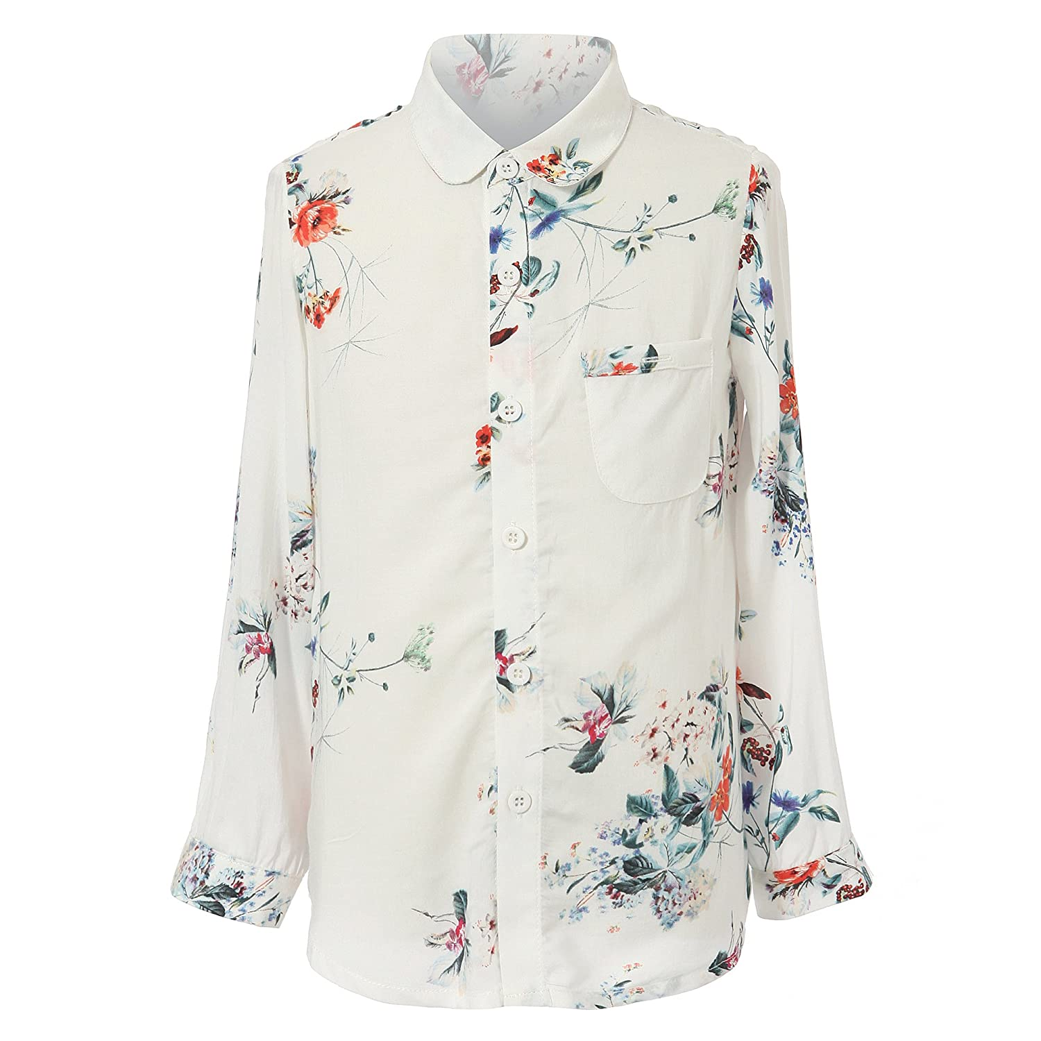 Richie House Girls Print Blouse with Lapel Collar Size 2-12 RH1890