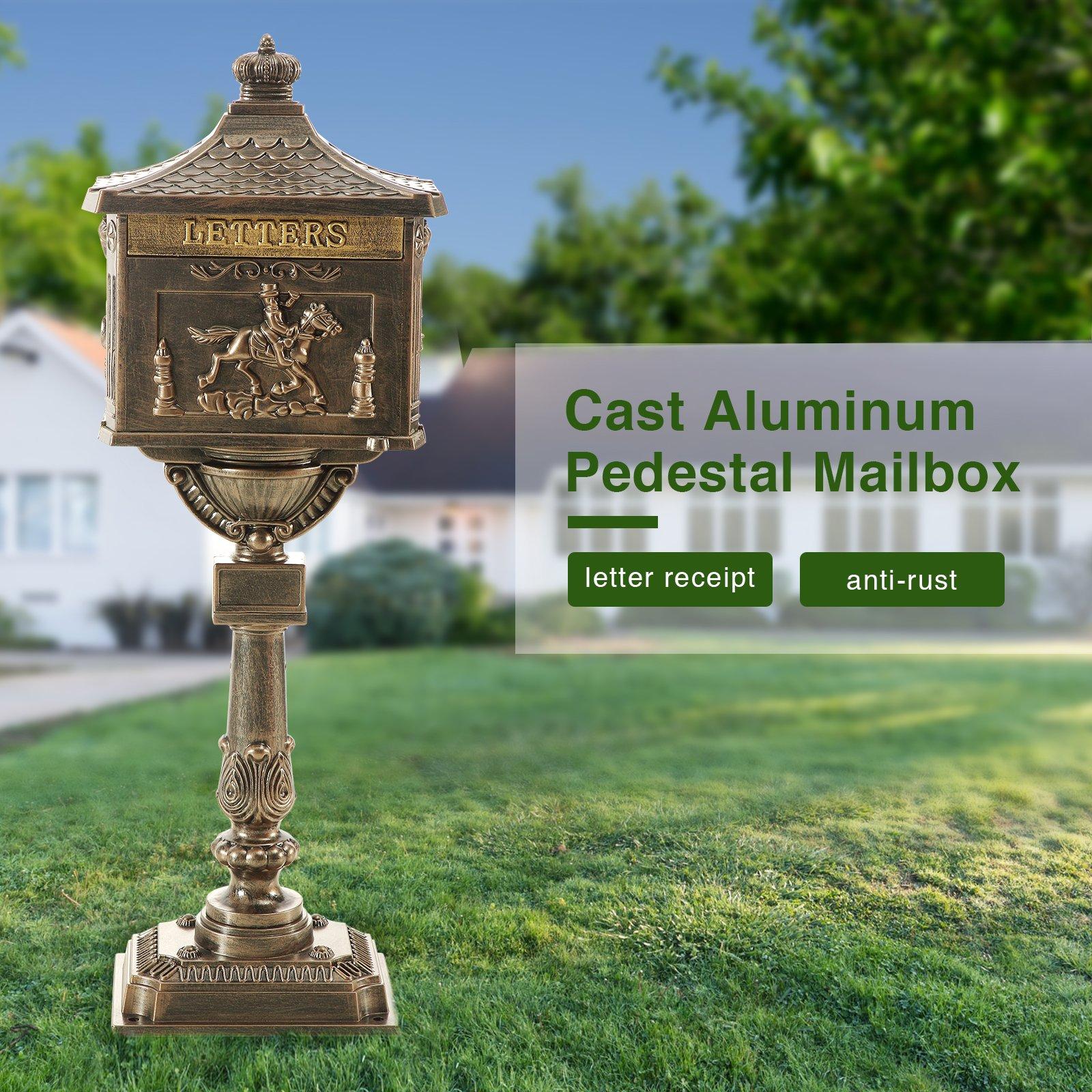Mecor Cast Aluminum Mailbox Heavy Duty Postal Box Security Bronze