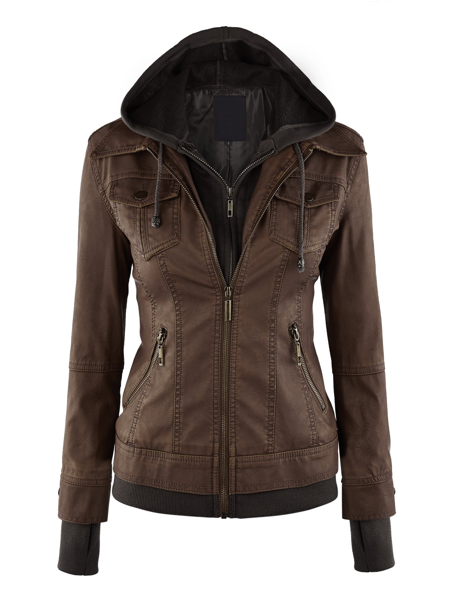CTC WJC664 Womens Faux Leather Jacket With Hoodie XL Coffee