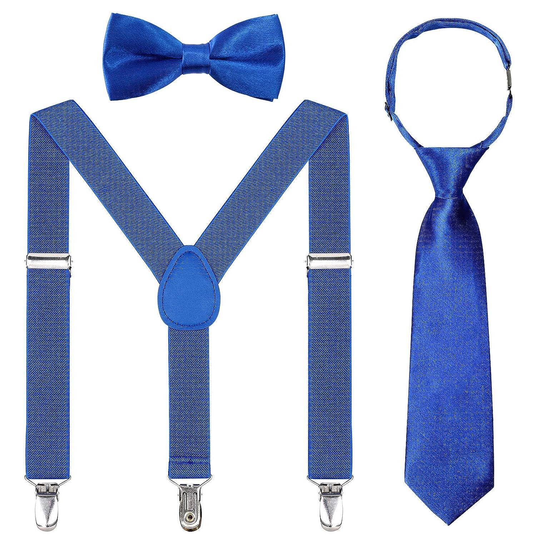 Kids Suspender Bowtie Necktie Sets Adjustable Elastic Classic Suspender Sets for 6 Months to 13 Year Old Boys /& Girls Navy blue + Wine red bowtie necktie, 26 Inches Fit 6 Months to 6 Years