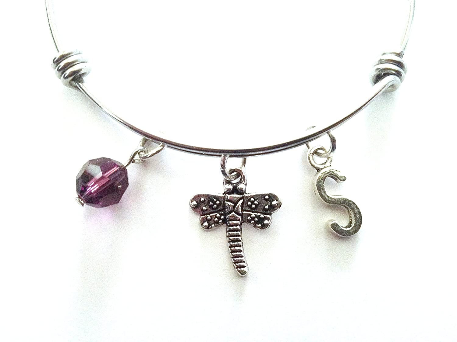 Dragonfly themed personalized bangle bracelet. Antique silver charms and a genuine Swarovski birthstone colored element.