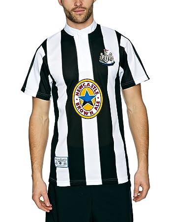 Score Draw Official Retro Newcastle United 1996 Men's Retro Football Shirt  - Black and White,