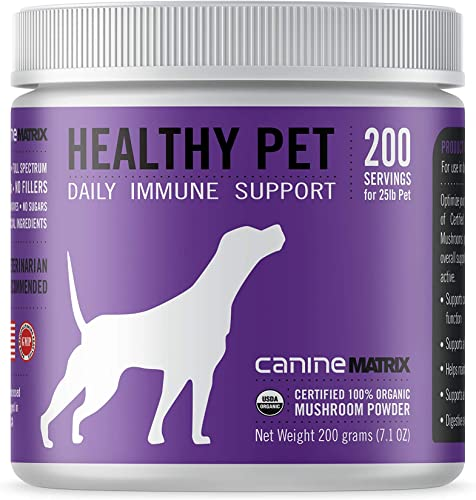 Canine Matrix Organic Mushroom Supplement for Dogs, Healthy Pet, 200 Grams, Canine Healthy Pet Matrix 200g