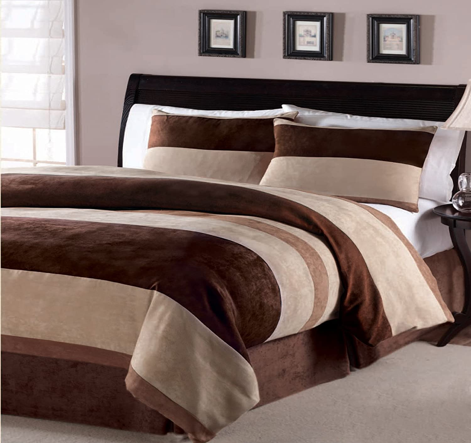 Brown bedding sets queen - Comforter Set Bedding Set Bed In A Bag Queen Size Beige Brown Chocolate Brown 4 Piece