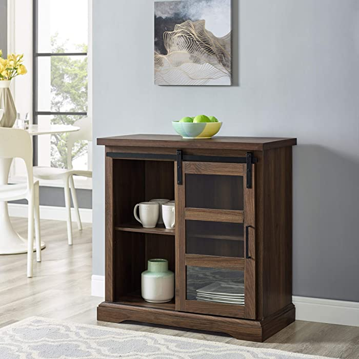 WE Furniture Modern Farmhouse Buffet Entryway Bar Cabinet Storage, 32 Inch, Walnut Brown