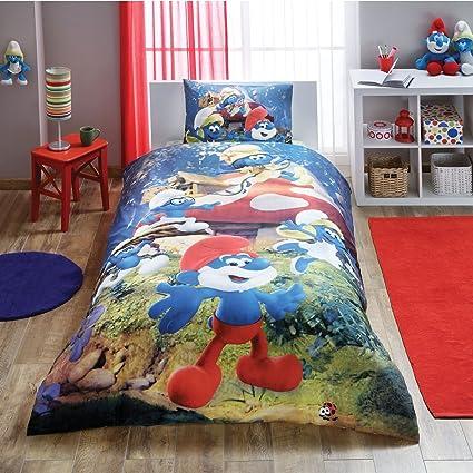 Smurfs The Lost Village Bedding 3 PCS Duvet Cover Set New Licensed 100% Cotton /