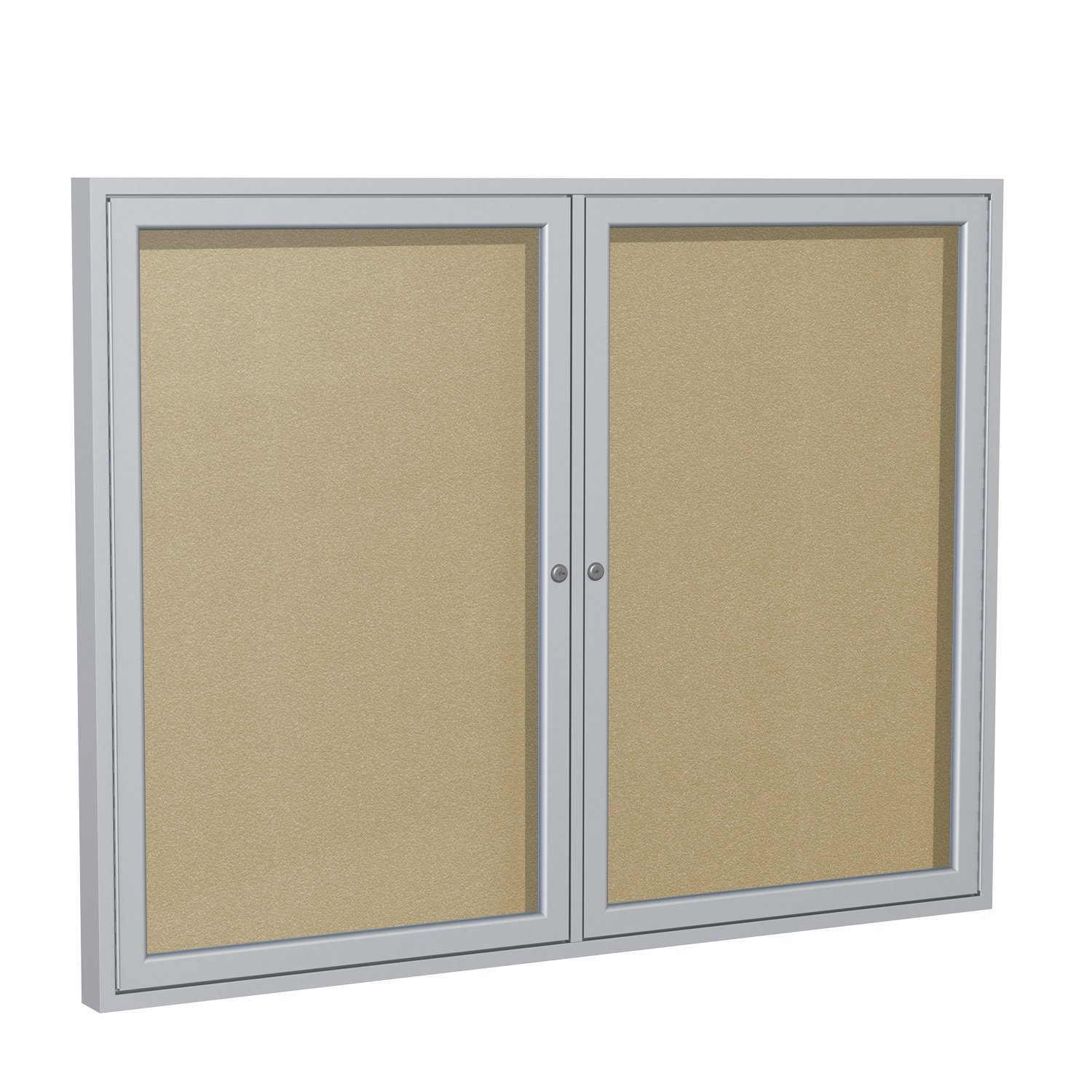 Ghent 36''x48''  2-Door Outdoor Enclosed Vinyl Bulletin Board, Shatter Resistant, with Lock, Satin Aluminum Frame - Caramel (PA23648VX-181), Made in the USA