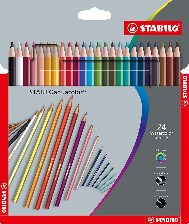 STABILO aquacolor matita colorata acquarellabile colori assortiti - Astuccio da 24 Stabilo International GmbH 1624-6 1624-3 Matitecolorate
