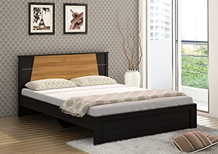 Queen Size Bed.Spacewood Riva Queen Size Engineered Wood Bed Particle Board Natural Wenge