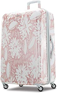 American Tourister Moonlight Hardside Expandable Luggage with Spinner Wheels, Ascending Gardens Rose Gold, Checked-Medium 24-Inch