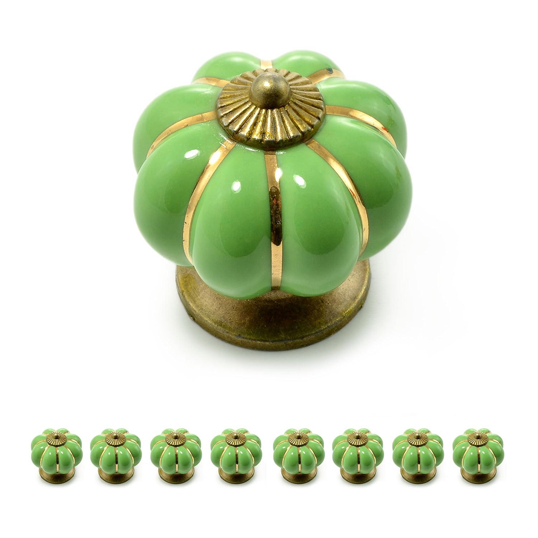 Ganzoo Set de boutons de meuble «Couronne» en porcelaine avec décoration en bronze antique (Lot disponible dans de nombreuses couleurs)
