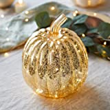 Lights4fun, Inc. Gold Mercury Glass Pumpkin Battery Operated LED Fall Thanksgiving Lighted Decoration