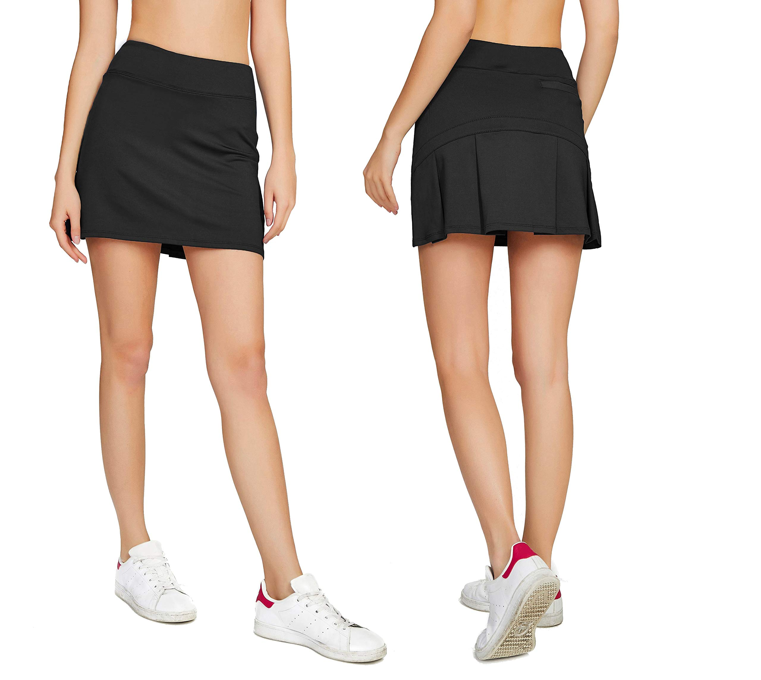 Cityoung Women's Casual Pleated Golf Skirt with Underneath Shorts Running Skorts m black1