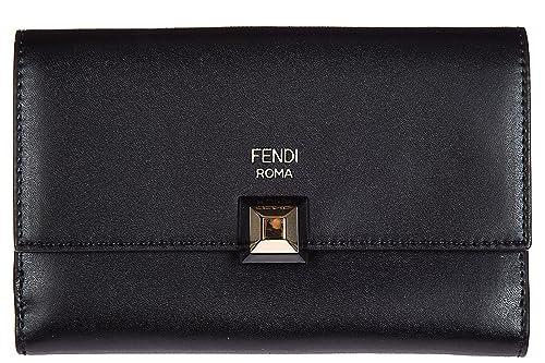Fendi cartera billetera trifold de mujer en piel nuevo continental slim negro: Amazon.es: Zapatos y complementos