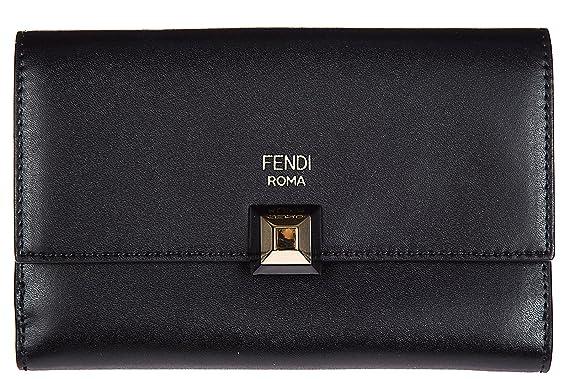 Fendi portefeuille femme en cuir triple couche continental slim noir ... 36b9e0ca6bb