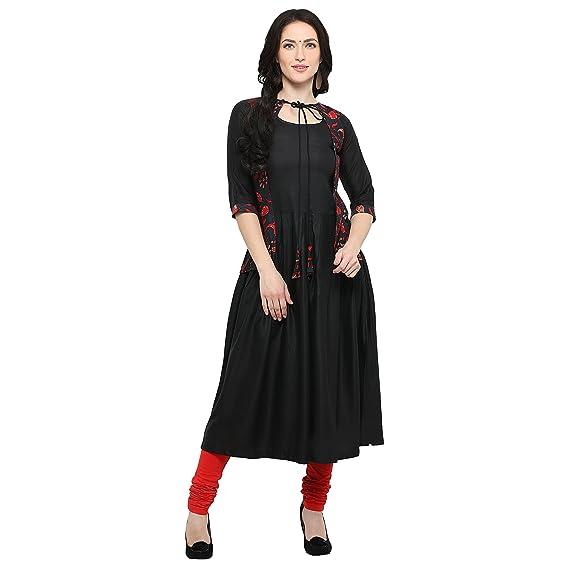 79034edb71 Ecolors Fab Women s Cotton Silk A-line Kurta  Amazon.in  Clothing ...