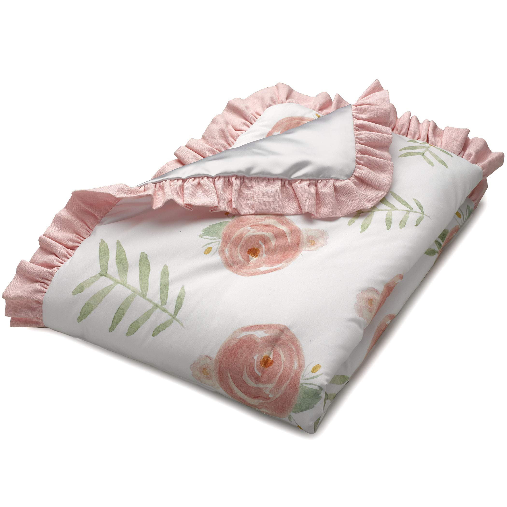 Pink Peony Floral Baby Quilt