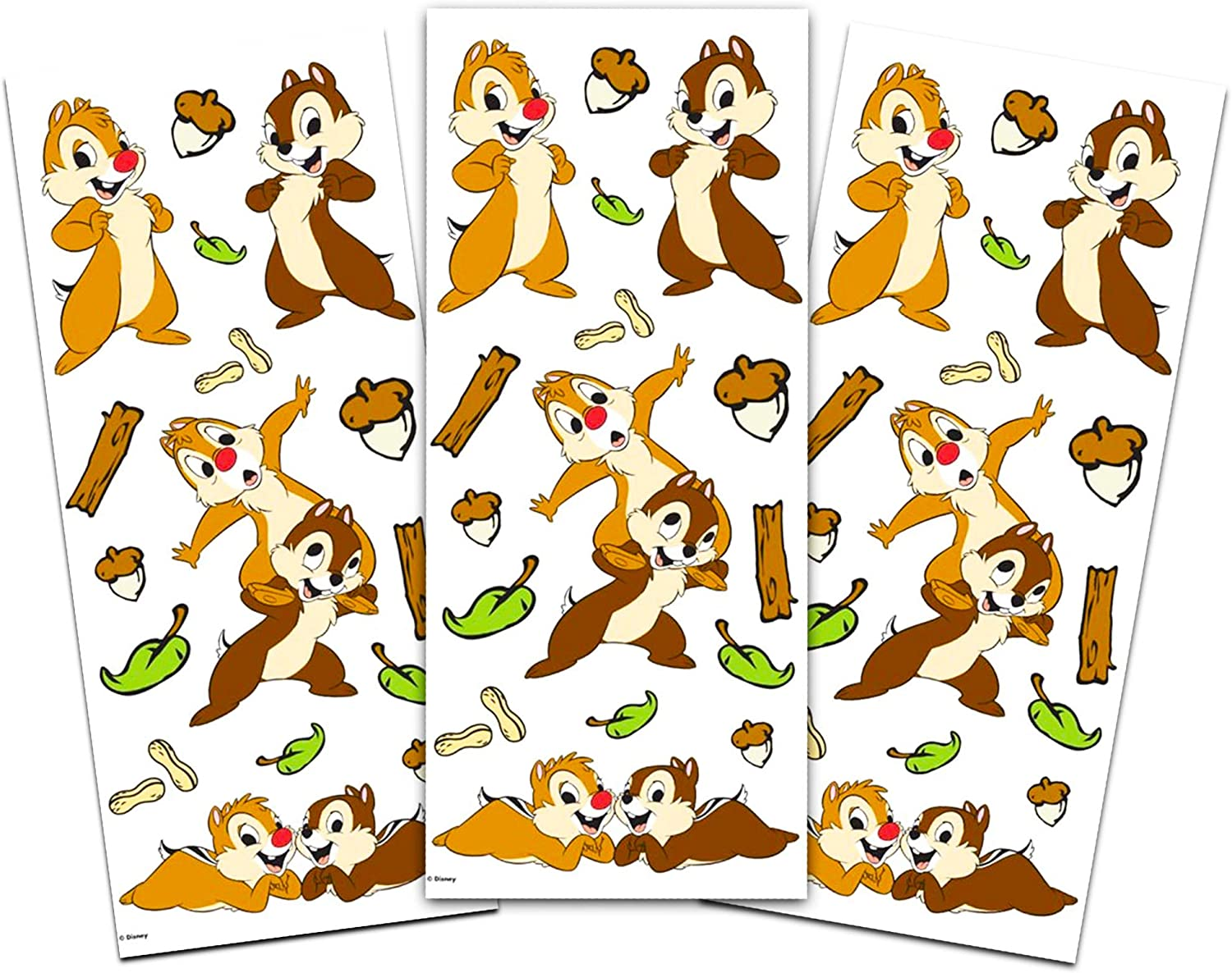 Disney Characters Stickers 6 Pack ~ 3 Chip and Dale Sticker Sheets and 3 Sheets of Mickey Mouse Stickers Disney Stickers