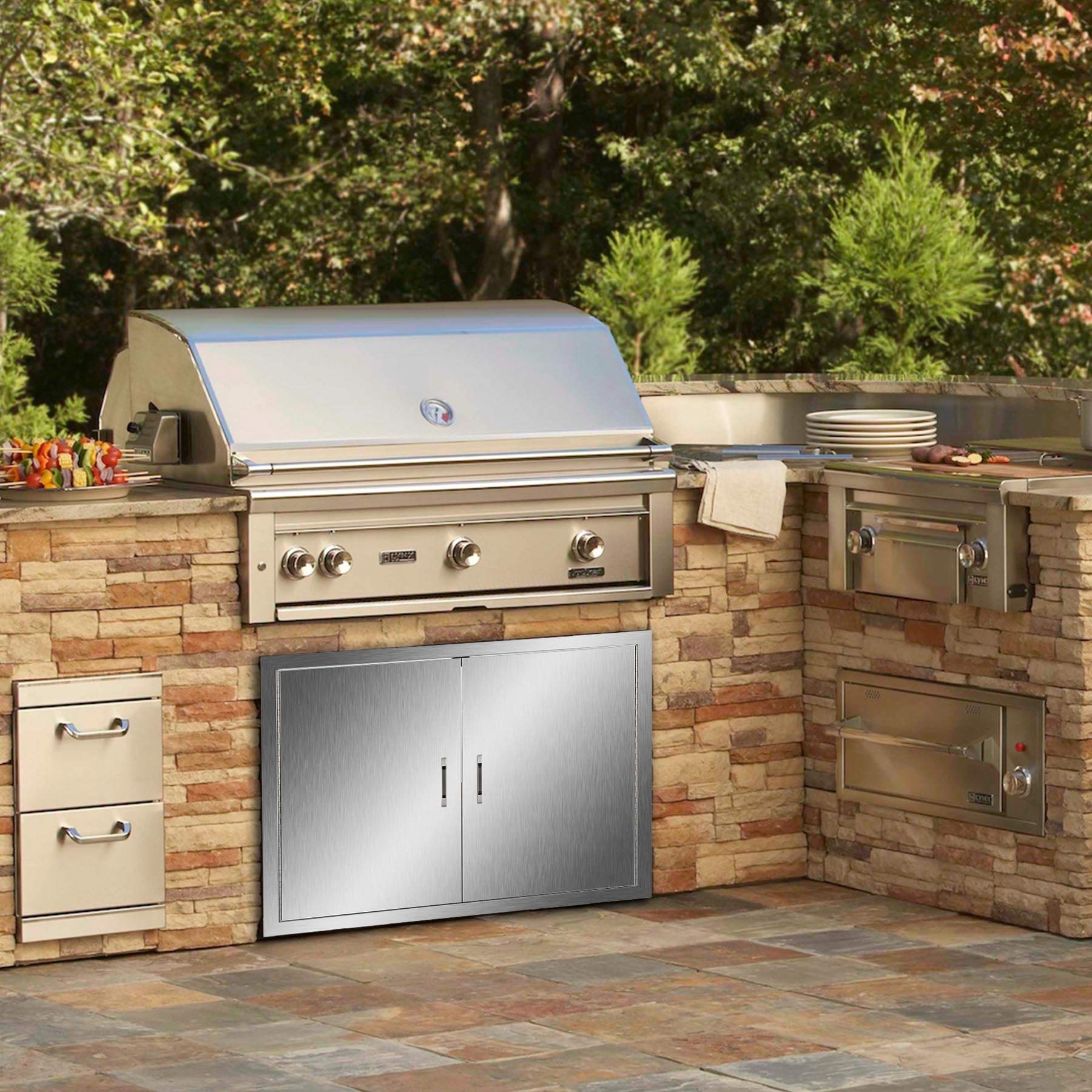 CO-Z Outdoor Kitchen Doors, 304 Brushed Stainless Steel Double BBQ Access Doors for Outdoor Kitchen, Commercial BBQ Island, Grilling Station, Outside Cabinet, Barbeque Grill, Built-in (31'' W x 24'' H) by CO-Z (Image #2)