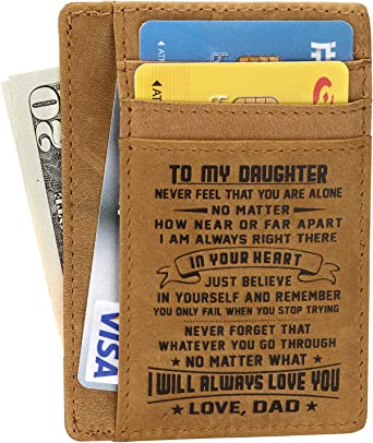 Card Holder Minimalist Wallets Gift For Son Daughter From Dad Wallet Rfid Front
