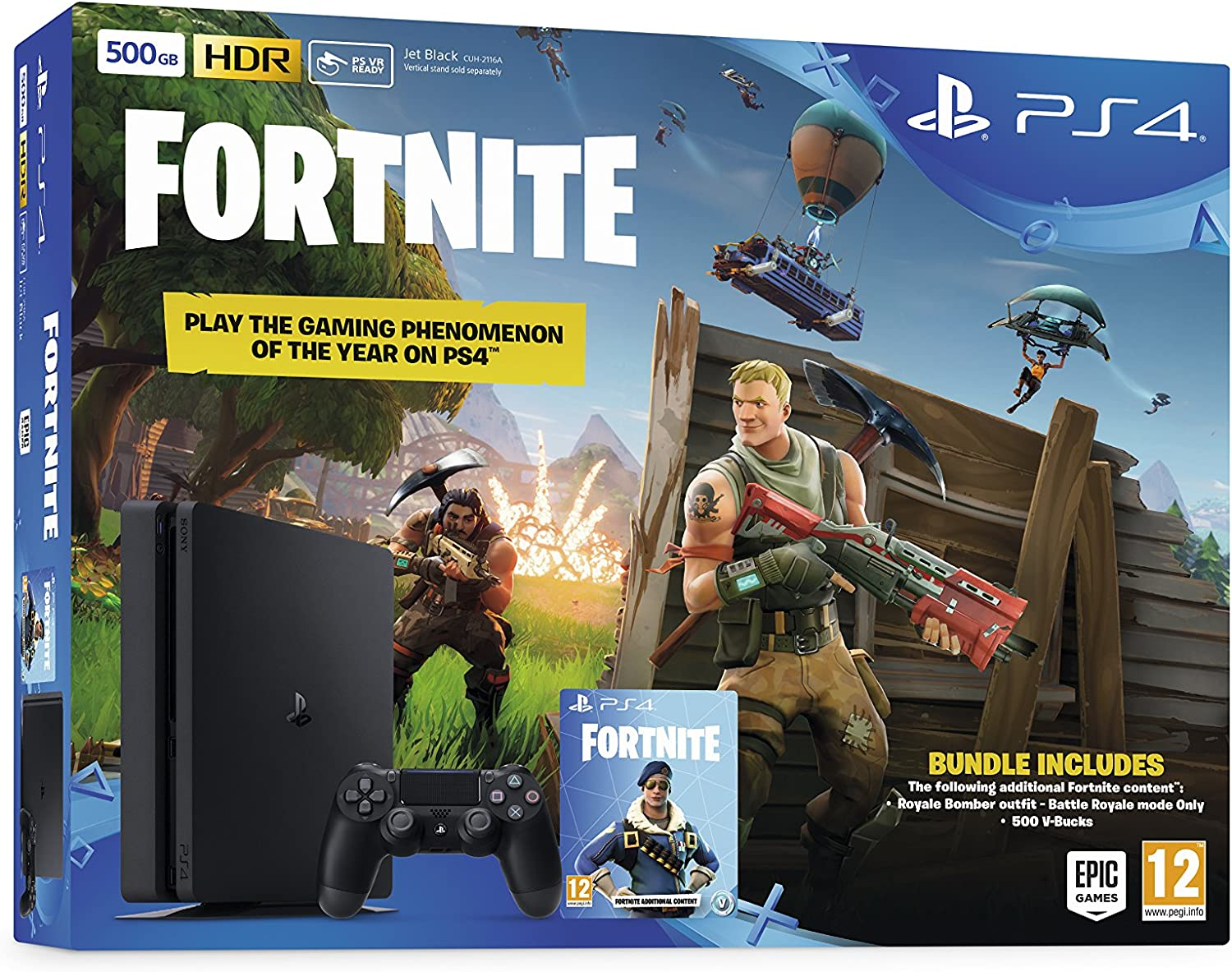Sony PlayStation 4 500GB Console (Black) with Fortnite and Royal ...