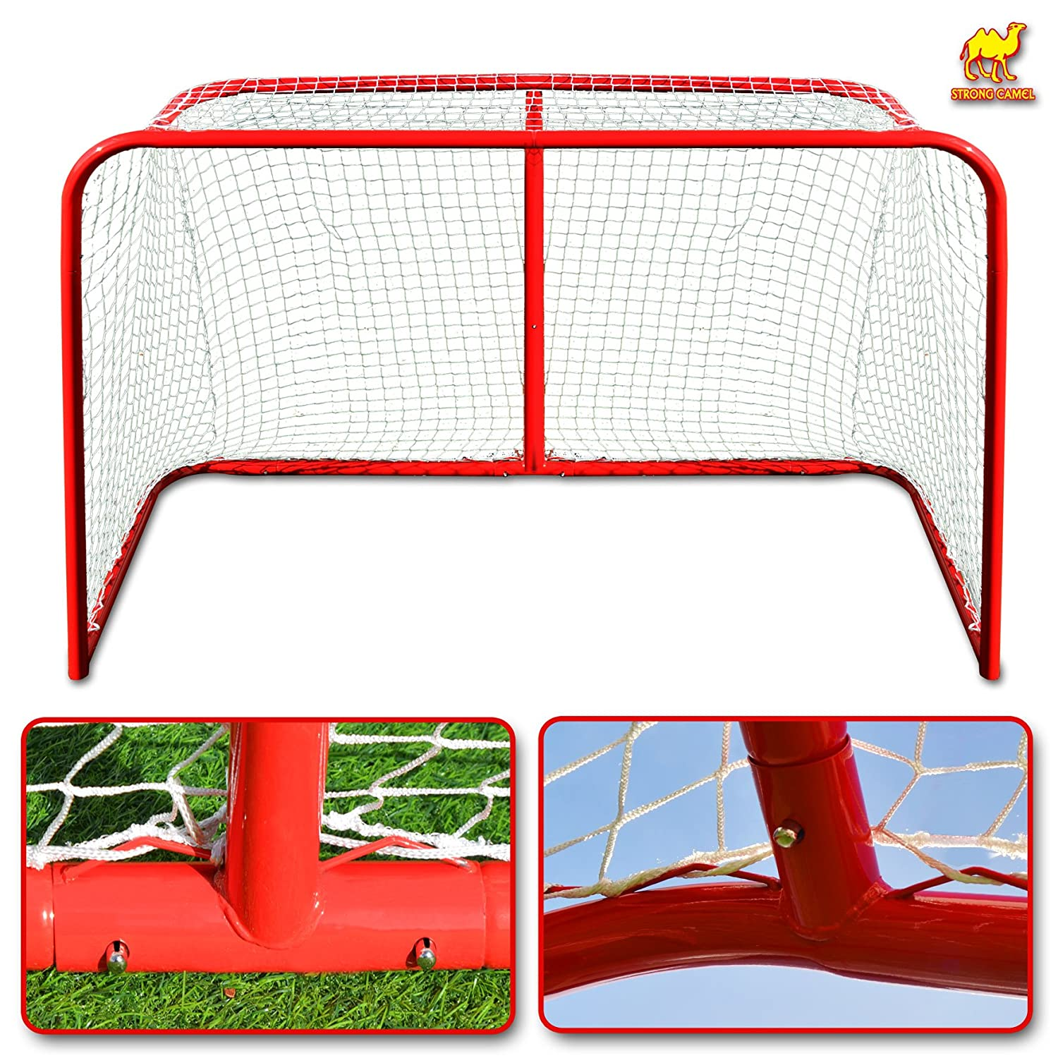"Strong Camel Senior Hockey Elite Goal With Steel Tubing 72"" x 48"" x 30"" (4 x 6-Feet) Regulation Net Ice Hockey Goal"